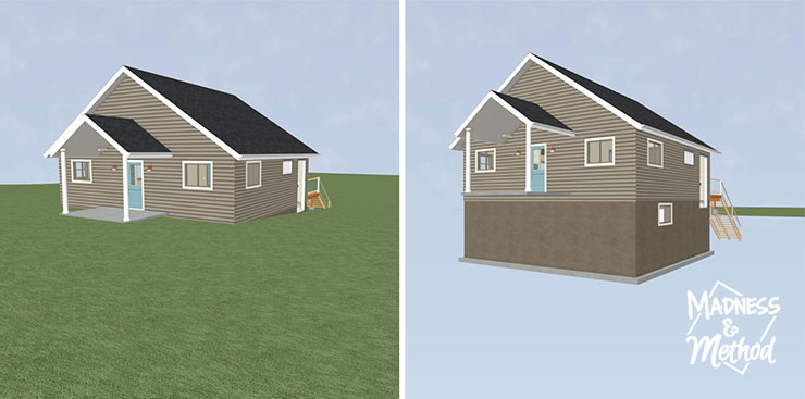 front view cottage render