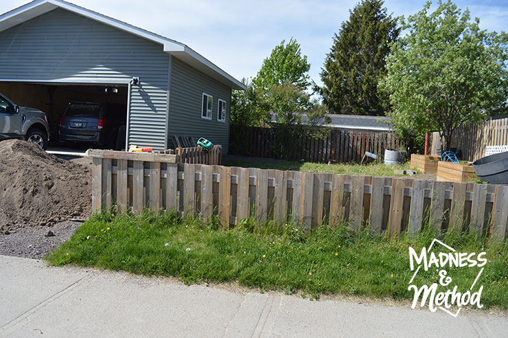 area between sidewalk and fence