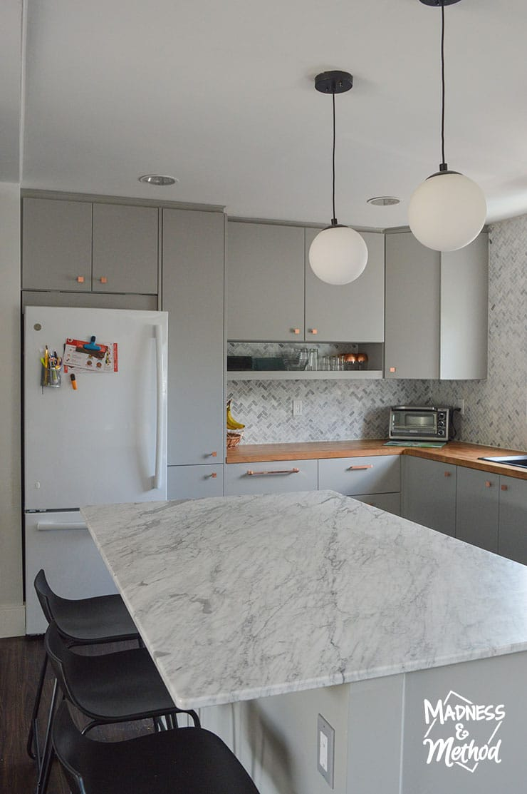 gray and marble kitchen