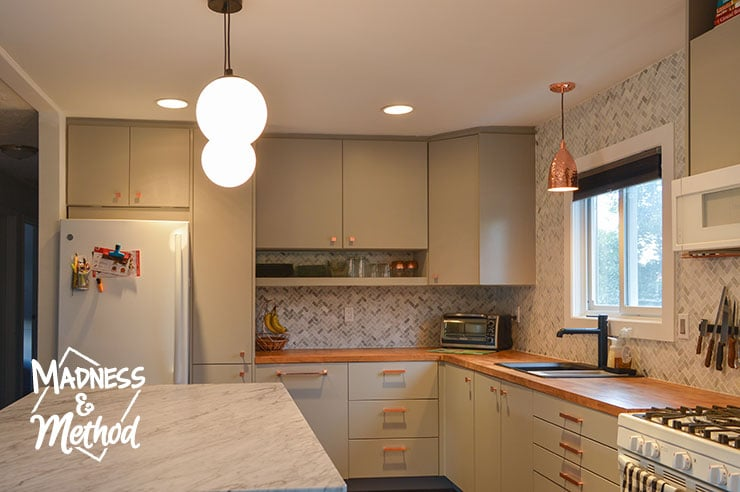 kitchen with lights on