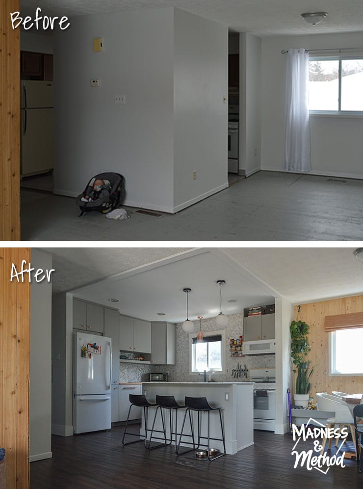 raised ranch kitchen before after